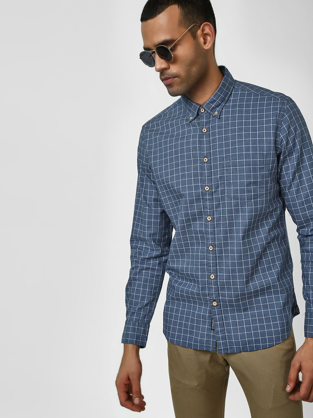SCULLERS Blue Check Long Sleeve Shirt 1