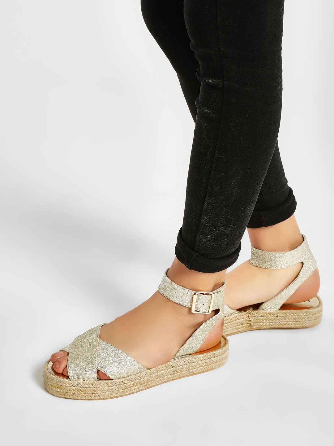 KOOVS Gold Ankle Strap Flat Sandals 1