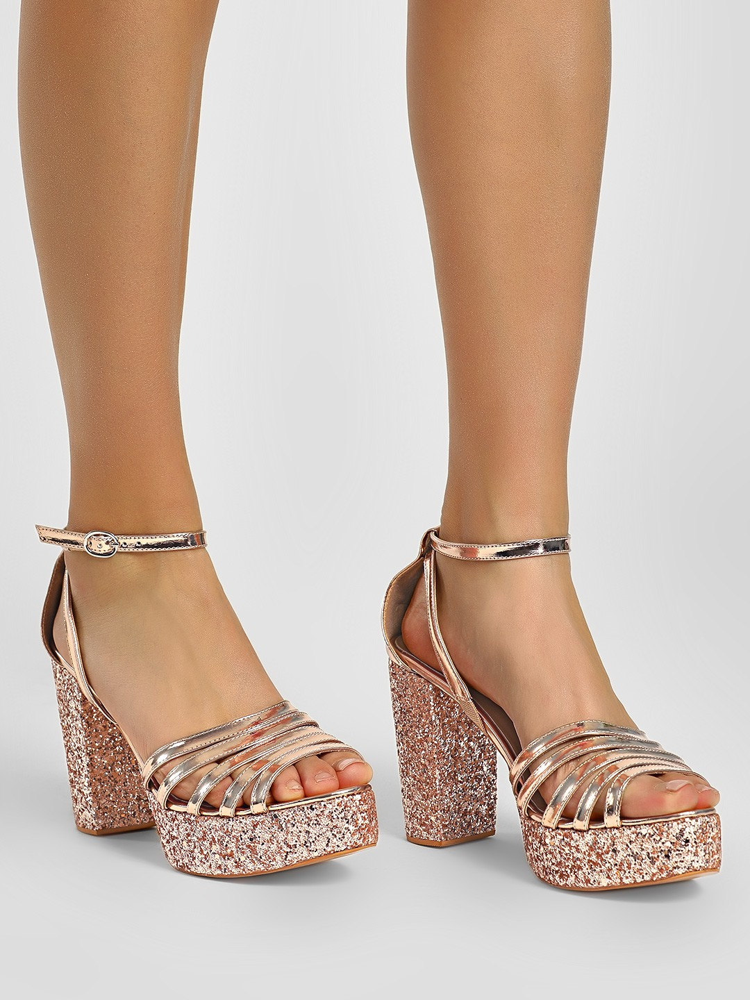 KOOVS Rose Gold Strappy Glitter Block Heels 1
