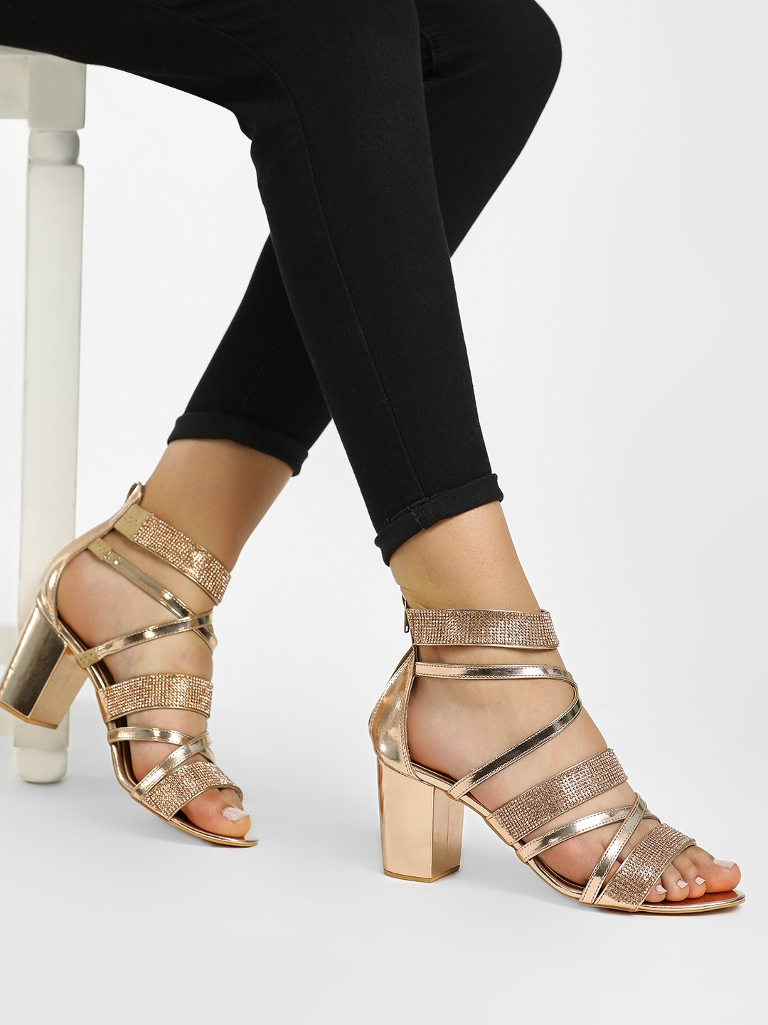 KOOVS Rose Gold Diamante Embellished Gladiator Heeled Sandals 1