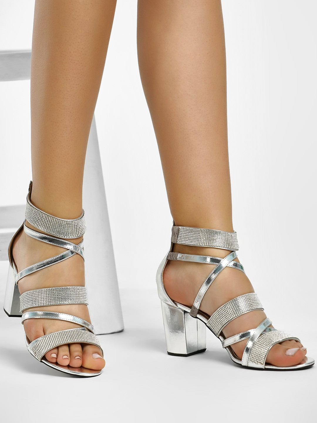 KOOVS Silver Diamante Embellished Gladiator Heeled Sandals 1