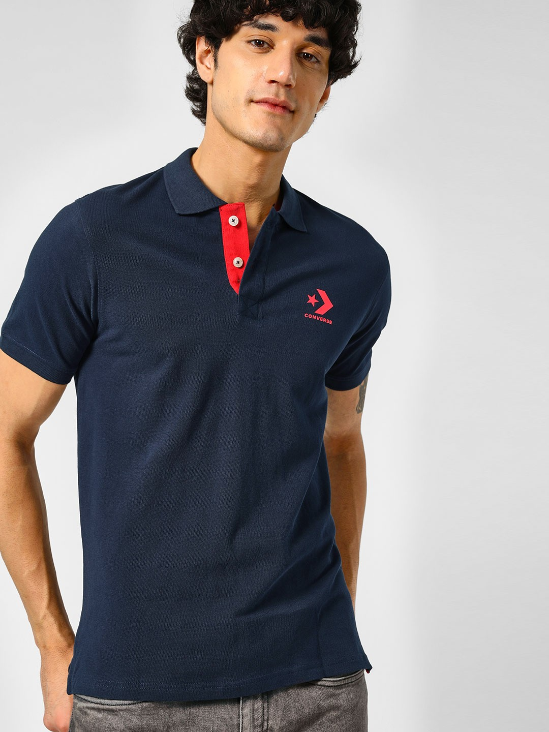 Converse Blue Basic Polo Shirt 1