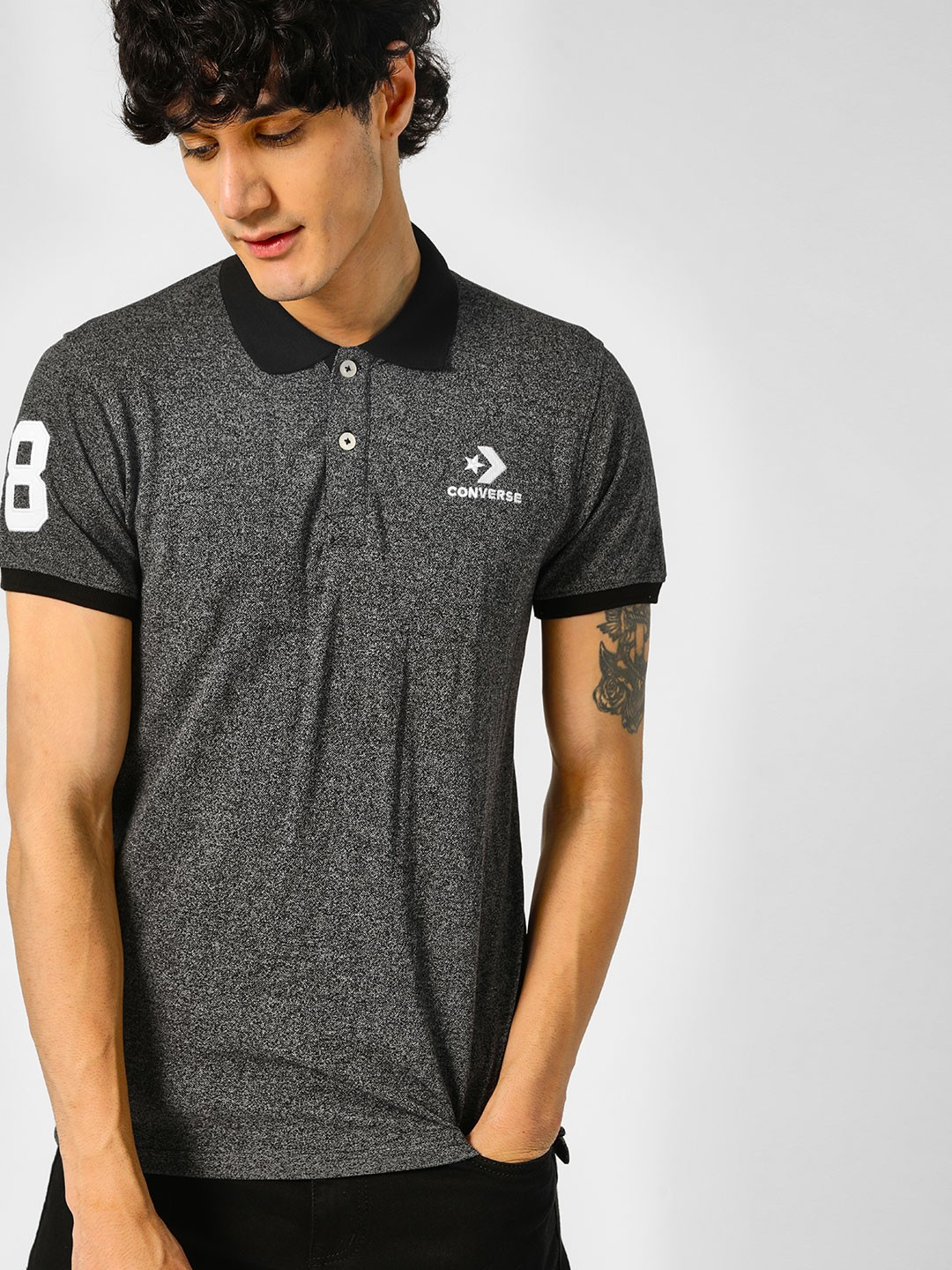 Converse Grey Placement Print Polo Shirt 1