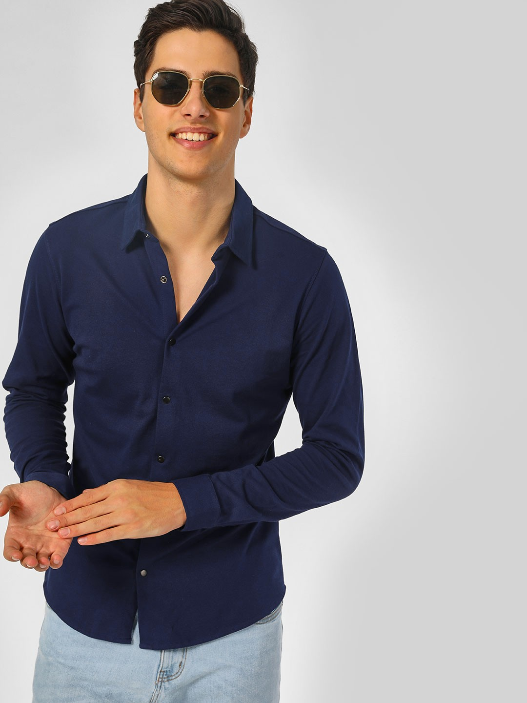 Indigo Nation Navy Basic Shirt With Snap Button 1