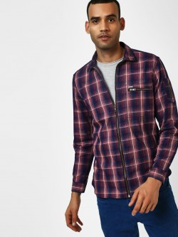 Indigo Nation Multi-Check Zippered Casual Shirt