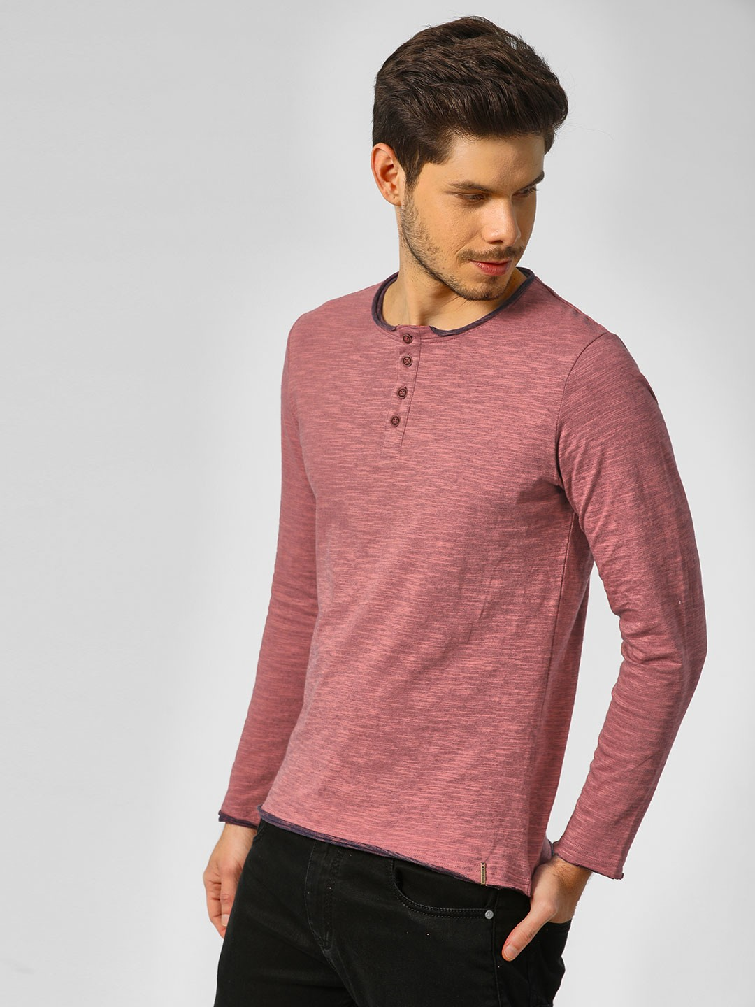 Indigo Nation Pink Long Sleeves T-Shirt With Button Detail 1