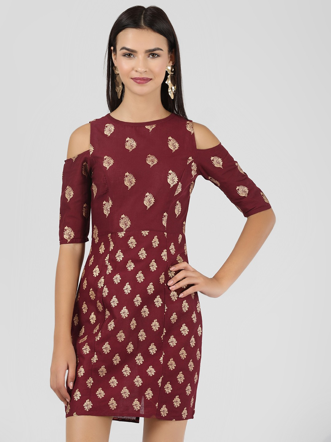 KOOVS Maroon Block Print Cold Shoulder Dress 1