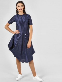 KOOVS Asymmetric Dress With Patchwork Detail