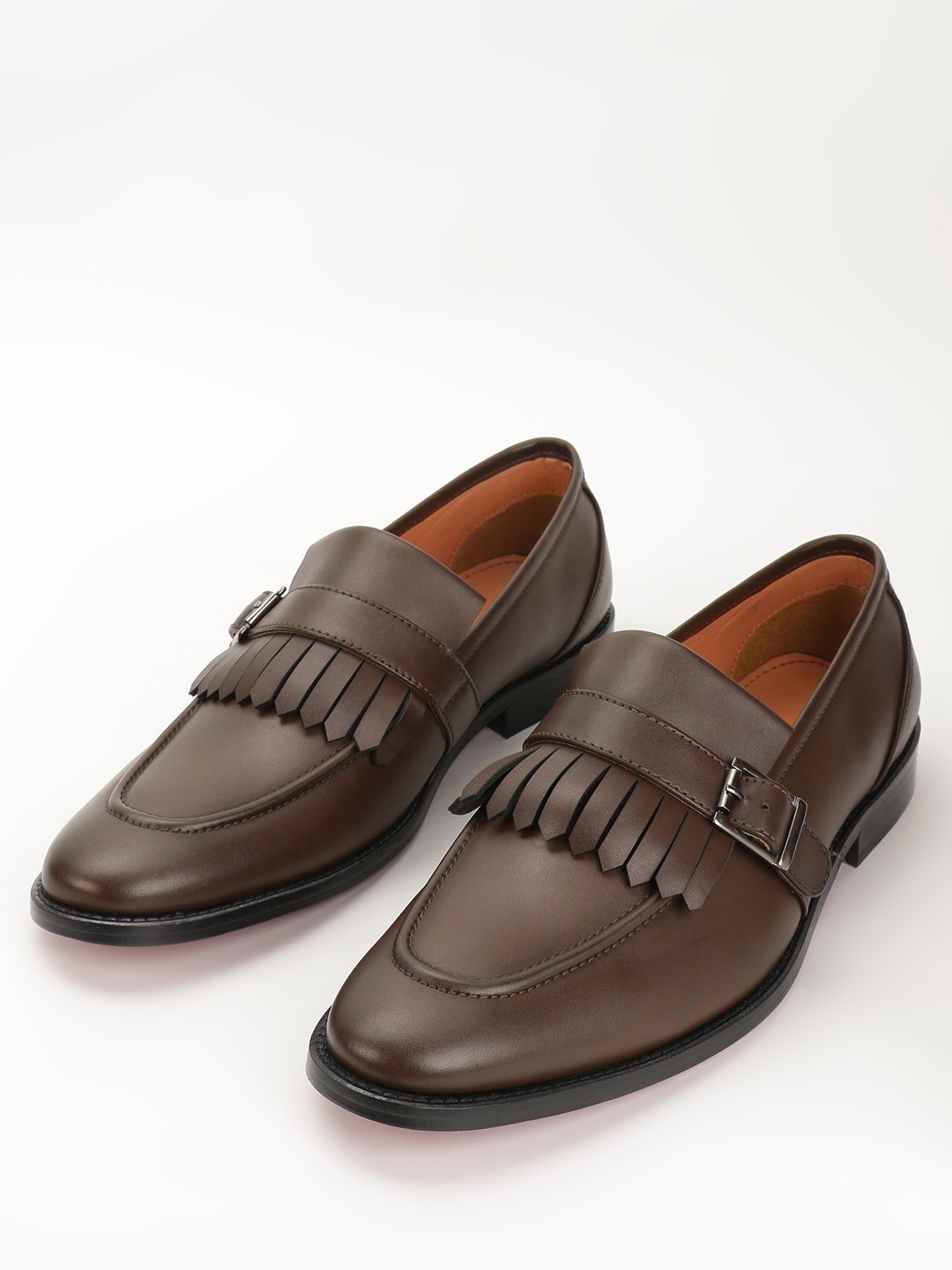 Griffin Brown Fringe Monk Loafers 1
