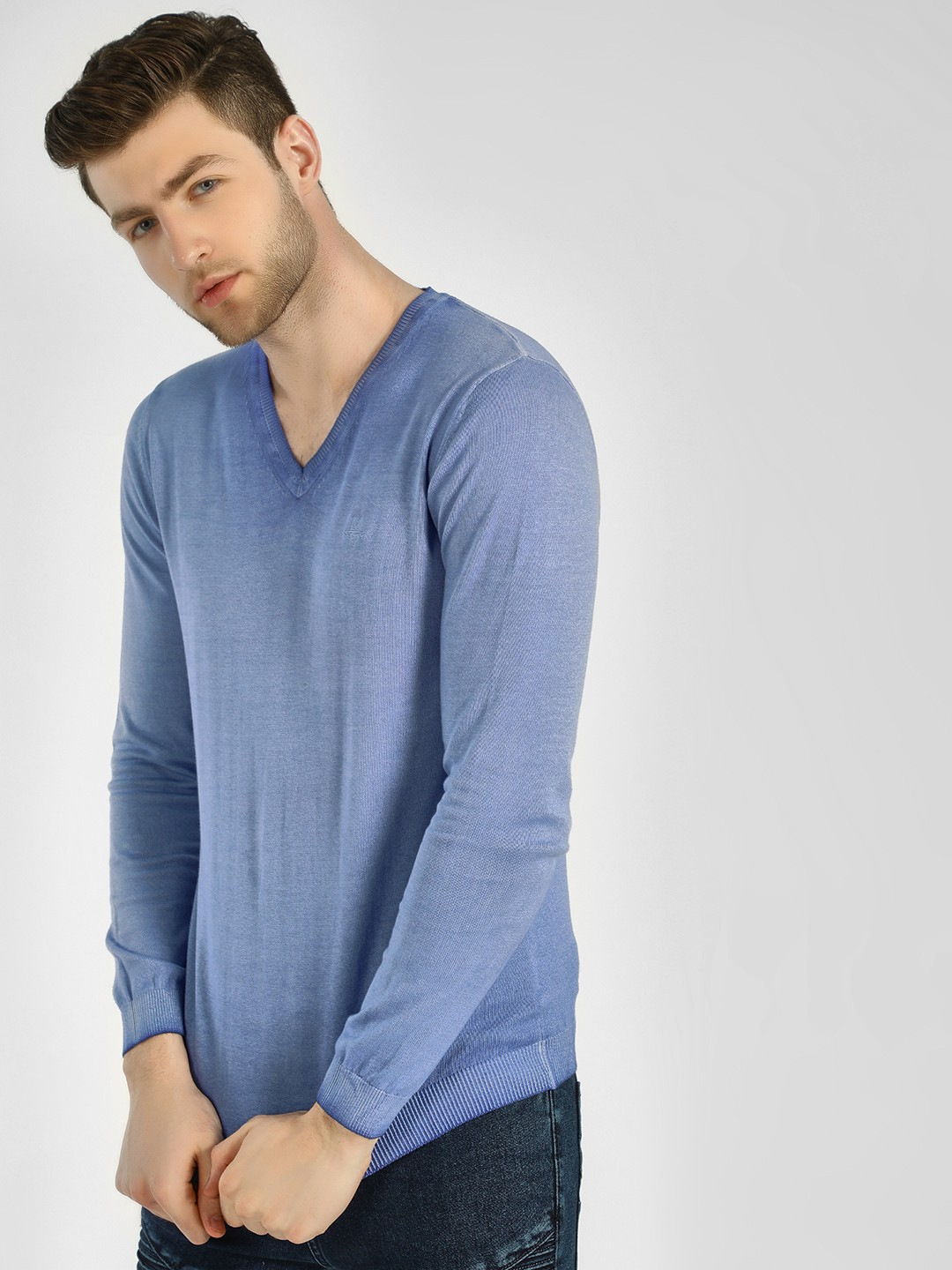 GOAT Blue Ombre Ribbed V-Neck Pullover 1