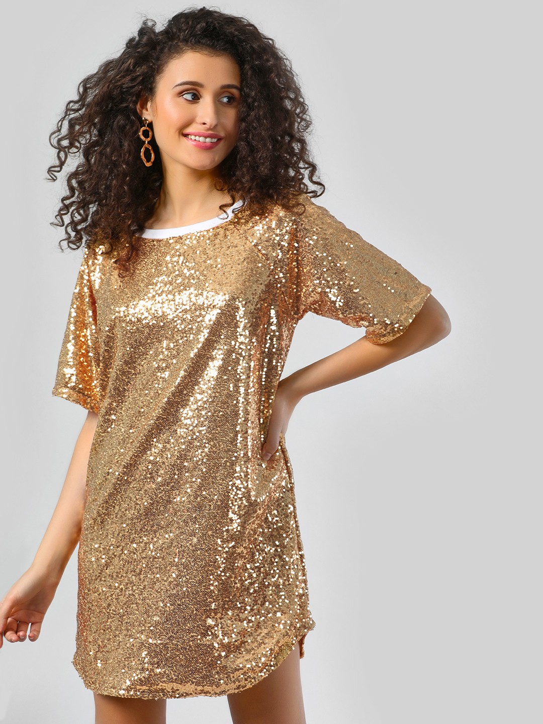 Spring Break Gold All Over Sequins Mini Shift Dress 1