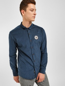 KOOVS Patch Detail Corduroy Shirt
