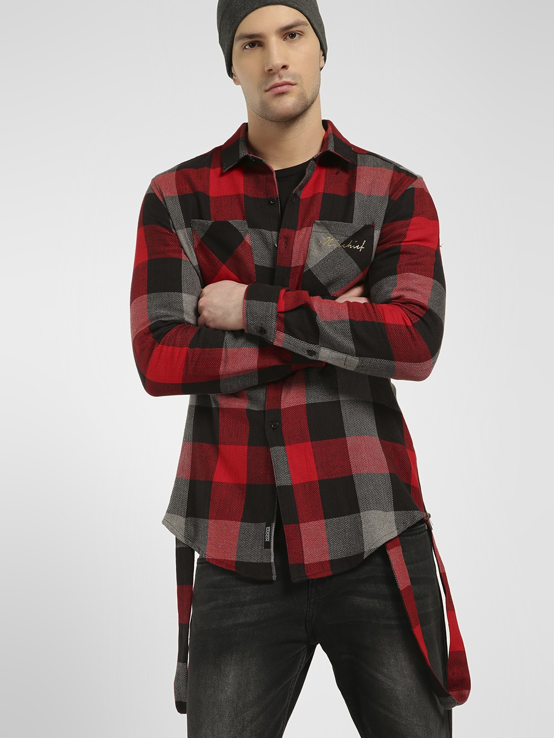 KOOVS Multi Buffalo Check Longline Shirt 1