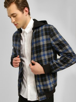 KOOVS Checkered Hooded Bomber Jacket