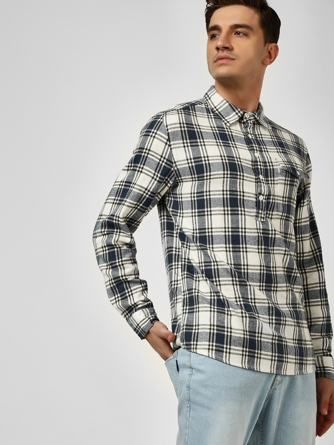 Blue Saint Multi Half Placket Casual Check Shirt 1