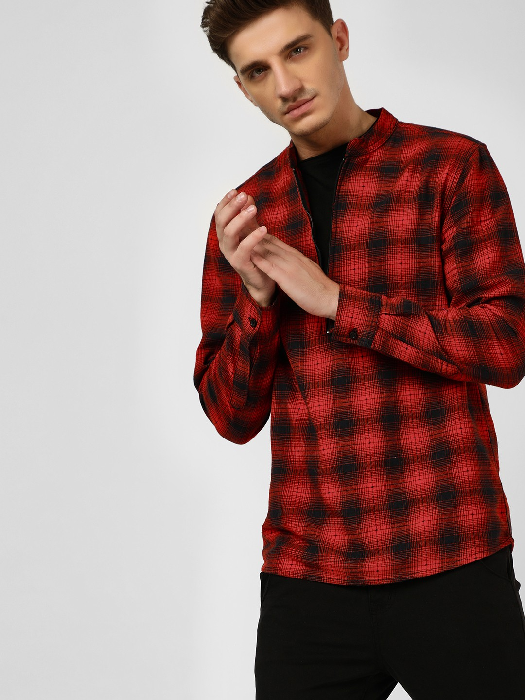 Blue Saint Multi Check Half Placket Shirt 1