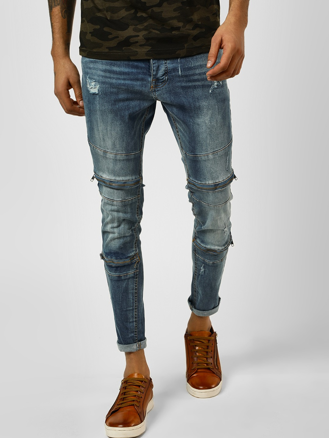 Brave Soul Blue Washed Rugged Skinny Jeans 1