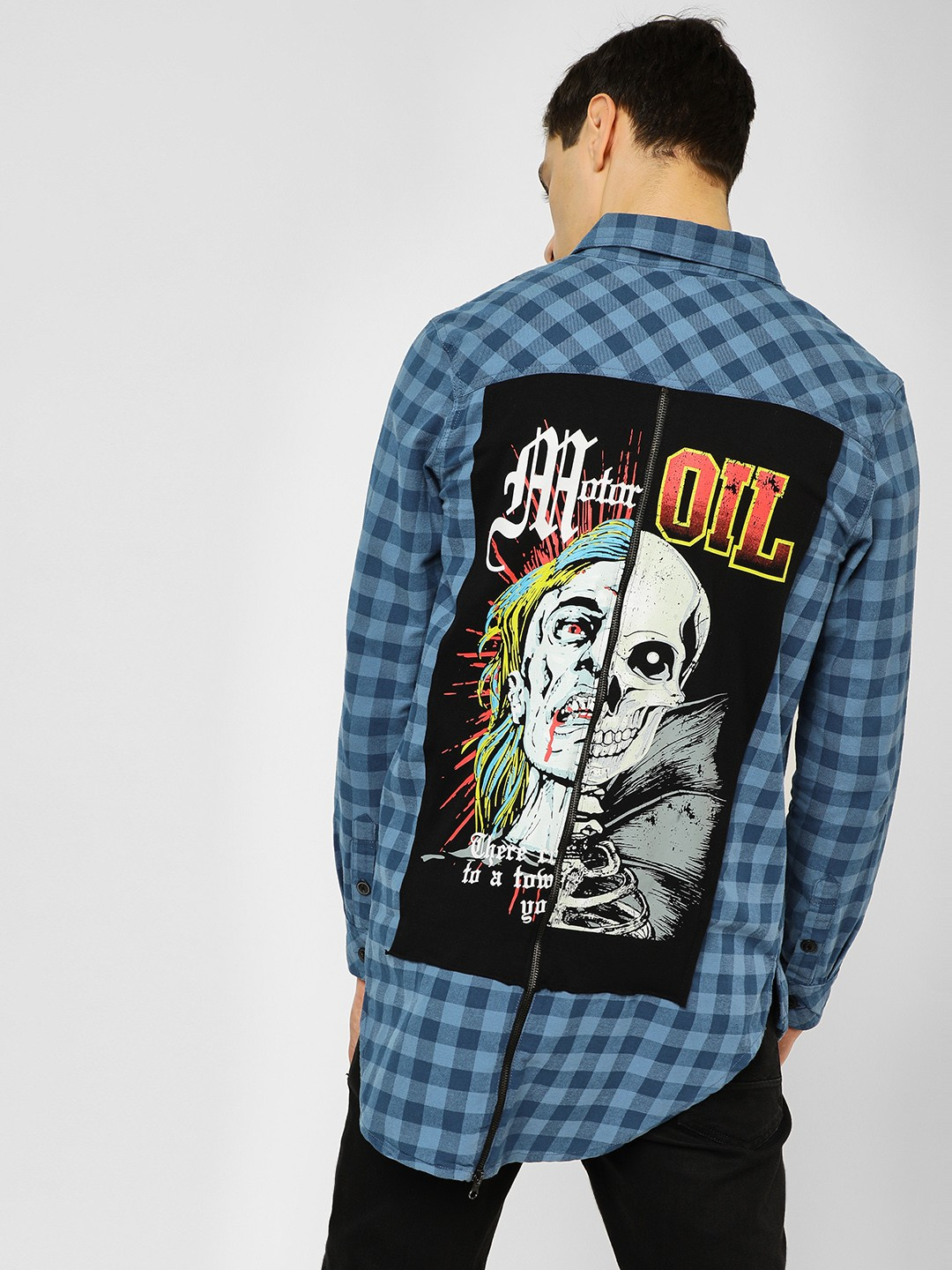 Brave Soul Blue Back Placement Print Check Shirt 1