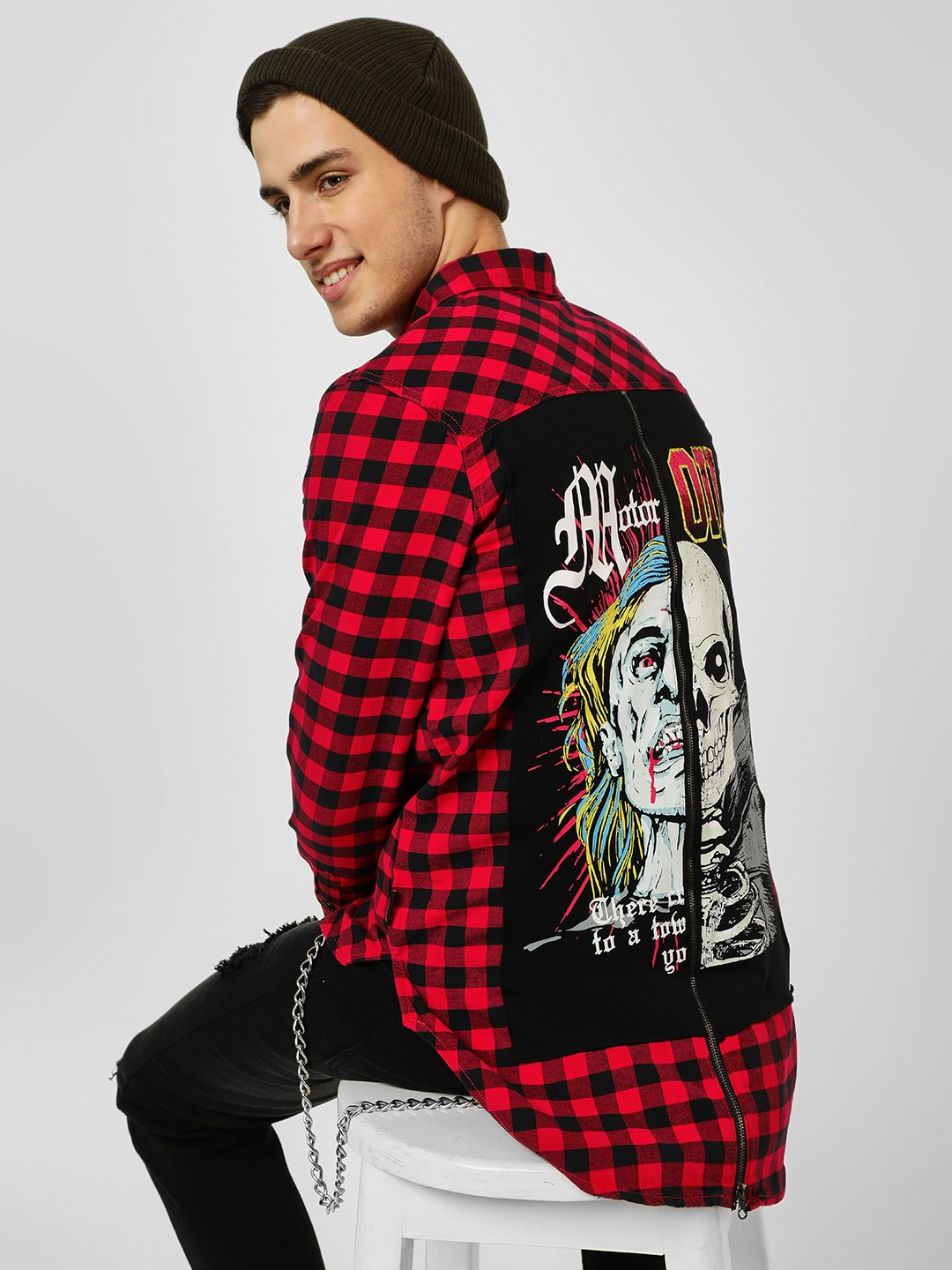 Brave Soul Red Back Placement Print Check Shirt 1