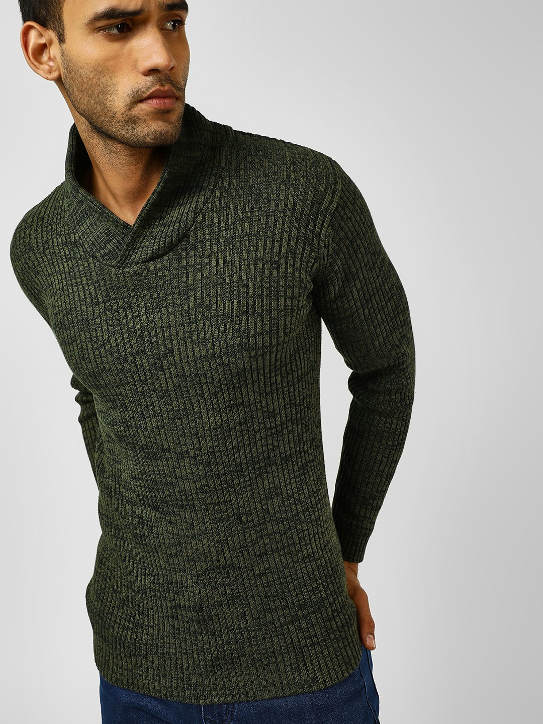 Brave Soul Green Twisted Shawl Collar Ribbed Jumper 1