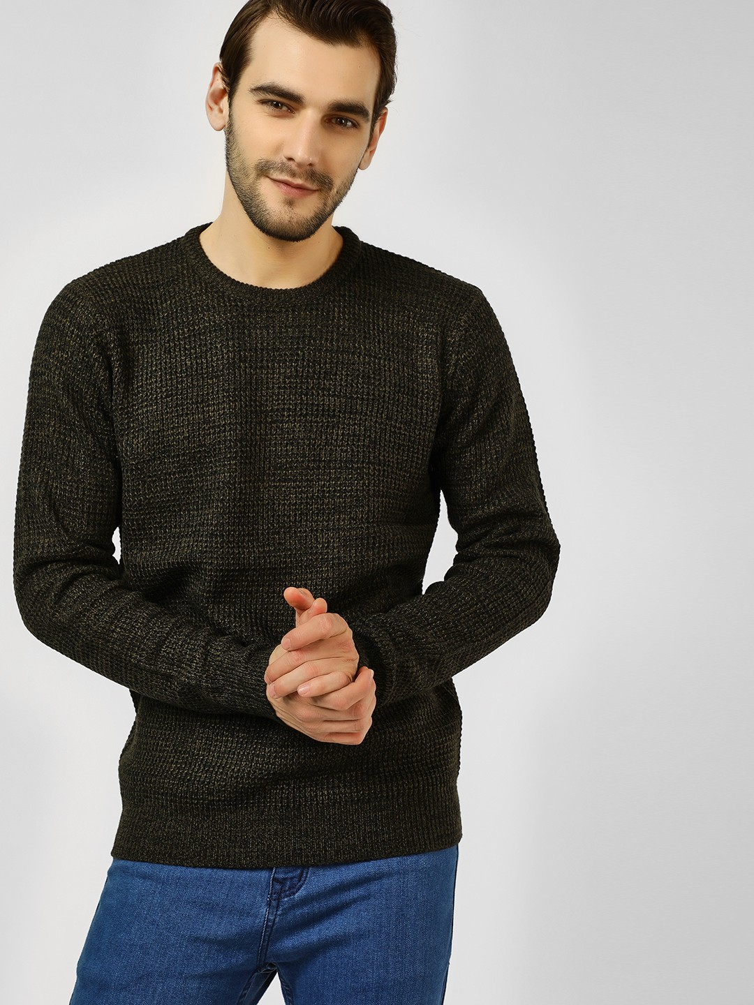 Brave Soul Khakhi All Over Knitted Pullover 1