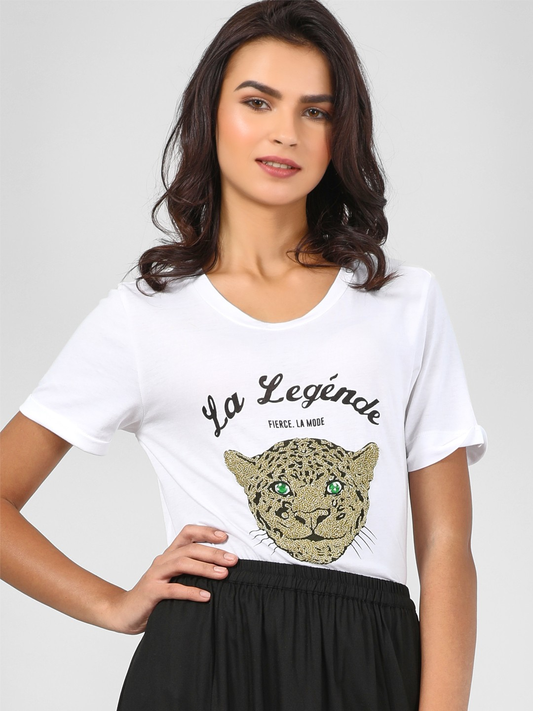 KOOVS White Slogan Print Tiger Embellished T-Shirt 1
