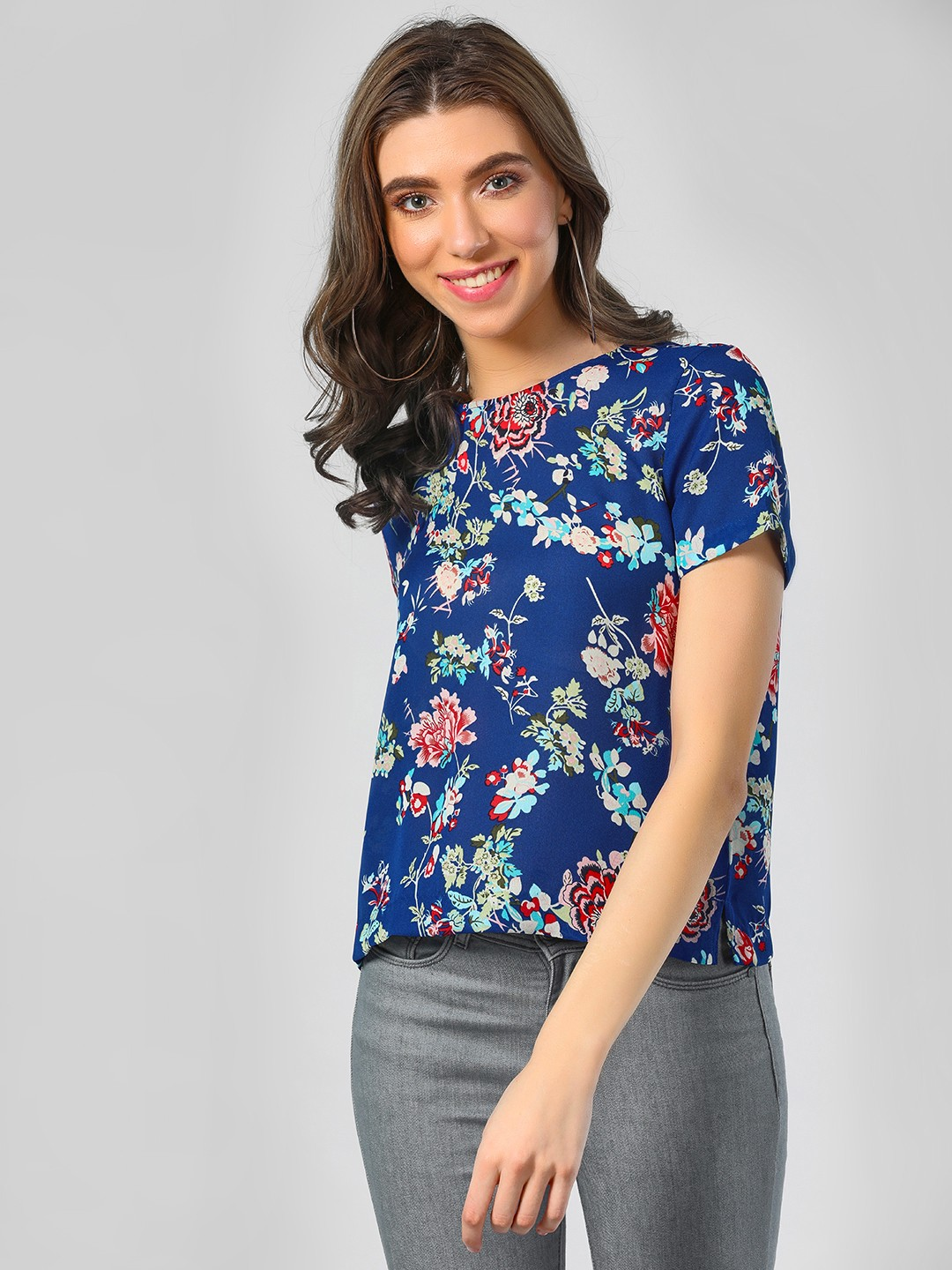 Only Blue Floral Top With Back Cut Work 1