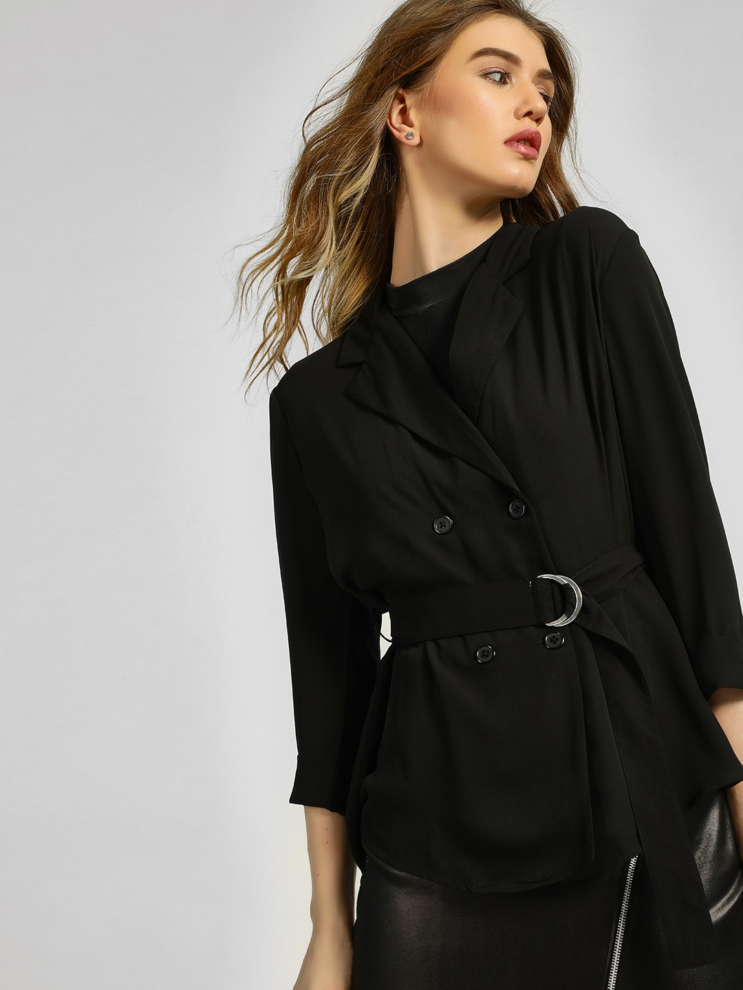 KOOVS Black Long Sleeve Blazer Blouse 1