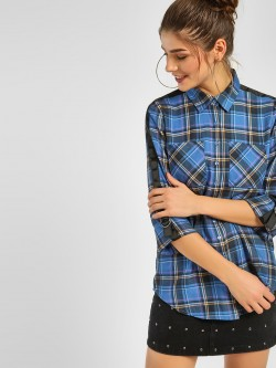 KOOVS Contrast Tape Check Shirt