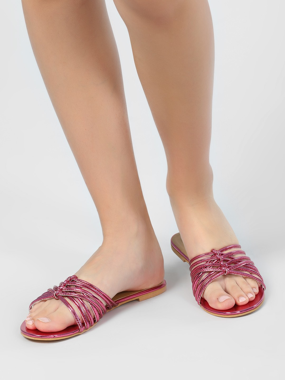 KOOVS Pink Knotted Flat Sandals 1