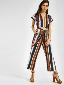 Closet Drama Striped Wrap Tie Knot Jumpsuit