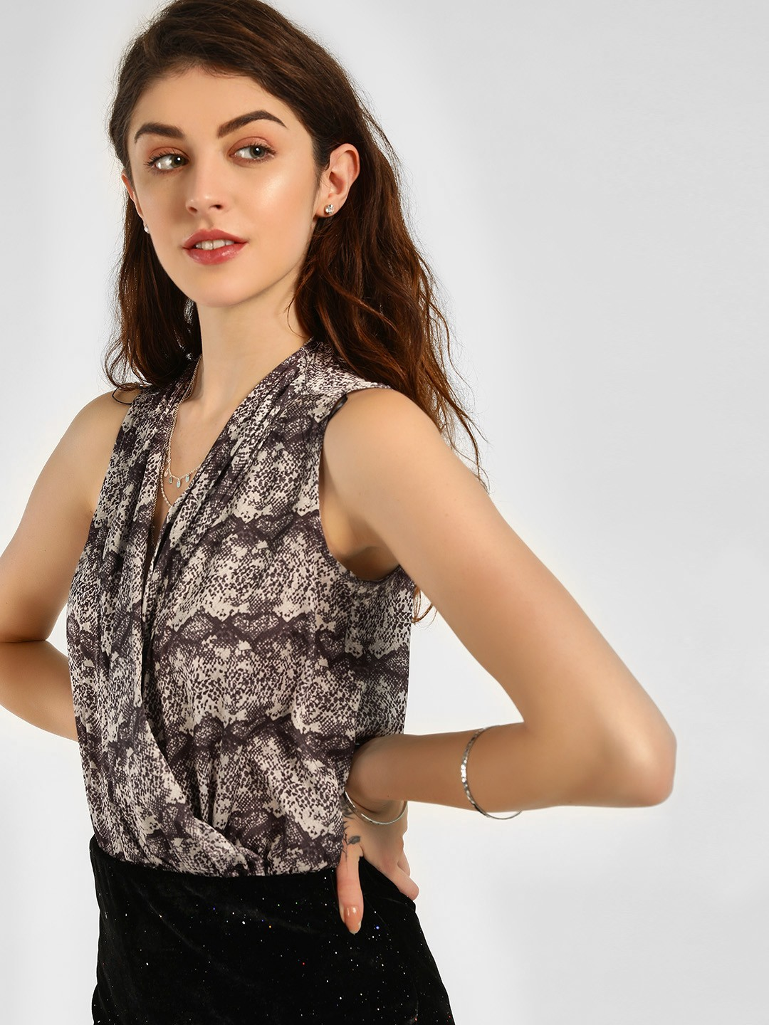 KOOVS Multi Snake Print Sleeveless Bodysuit 1