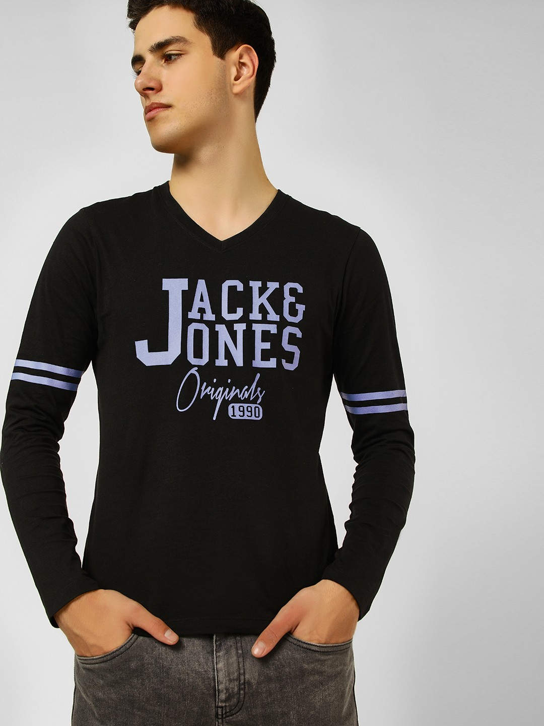 Jack & Jones Black Logo Print V Neck T-Shirt 1