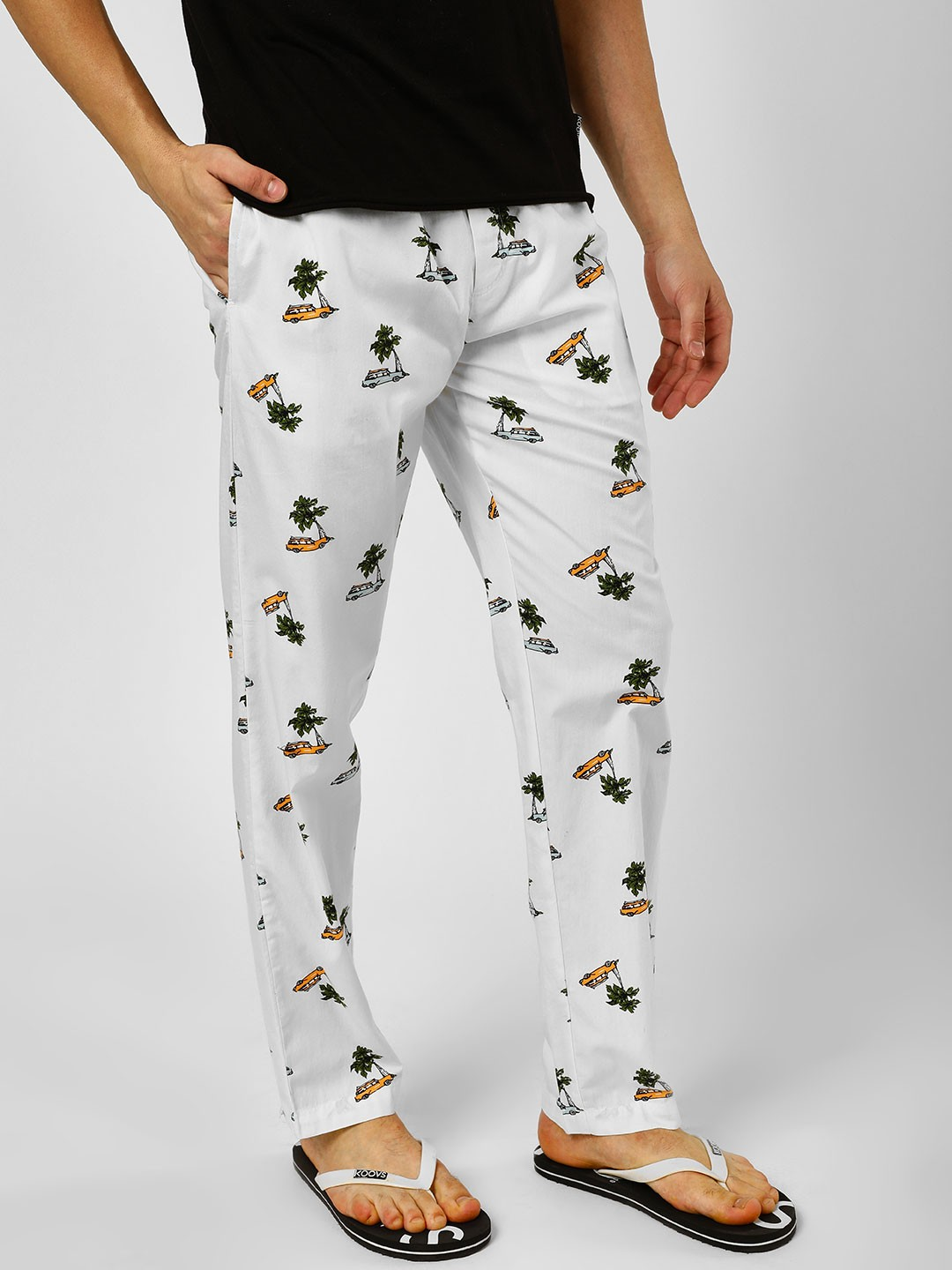 Jack & Jones White Car Print Lounge Pants 1