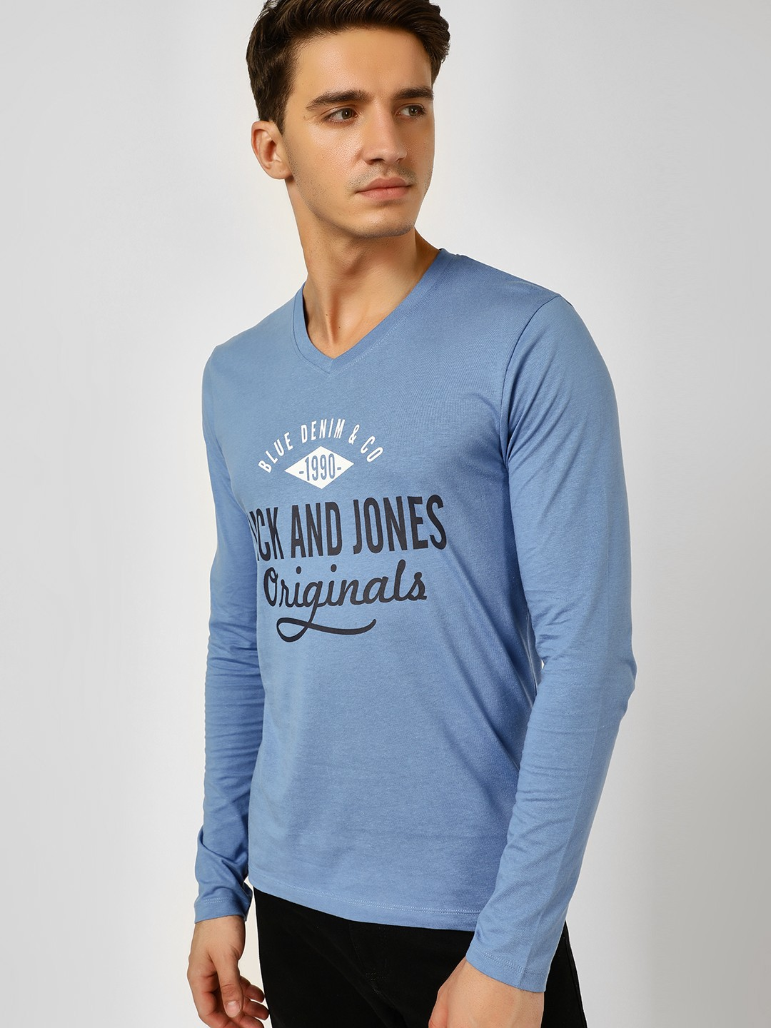 Jack & Jones Blue Logo Print V Neck T-Shirt 1