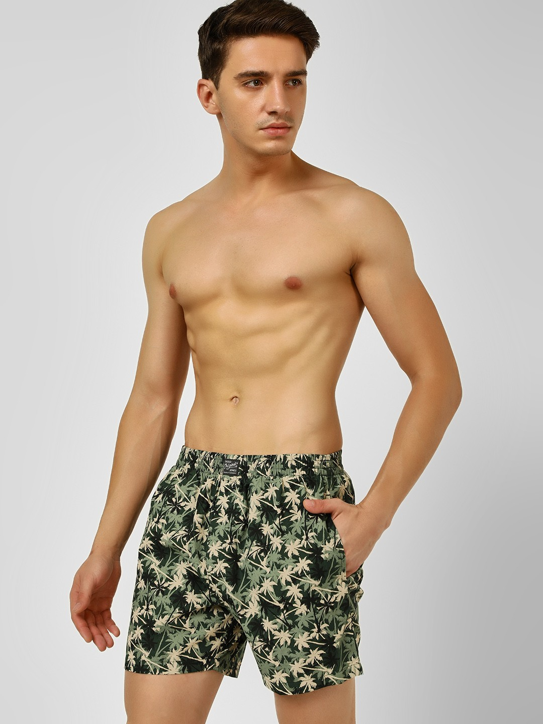 Jack & Jones Green Camo Palm Print Boxer Shorts 1
