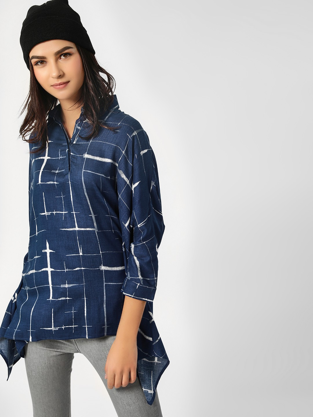 Femella Blue Abstract Checkered Print Oversized Shirt 1