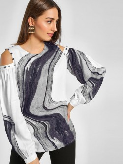 Femella Marble Print Cold Shoulder Top