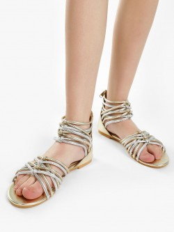 KOOVS Metallic Finish Gladiator Sandals