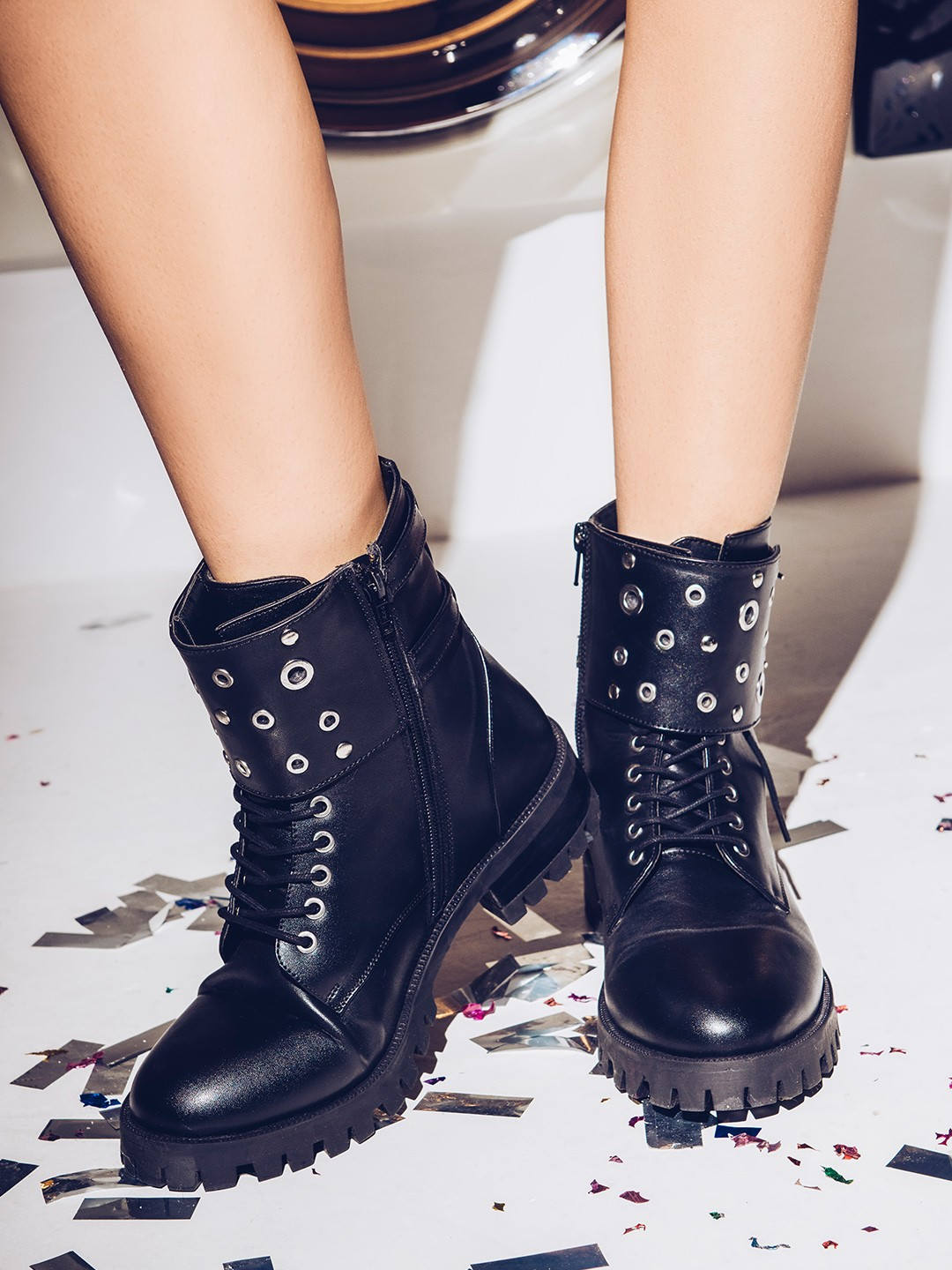 KOOVS Black Eyelet Detail Military Boots 1