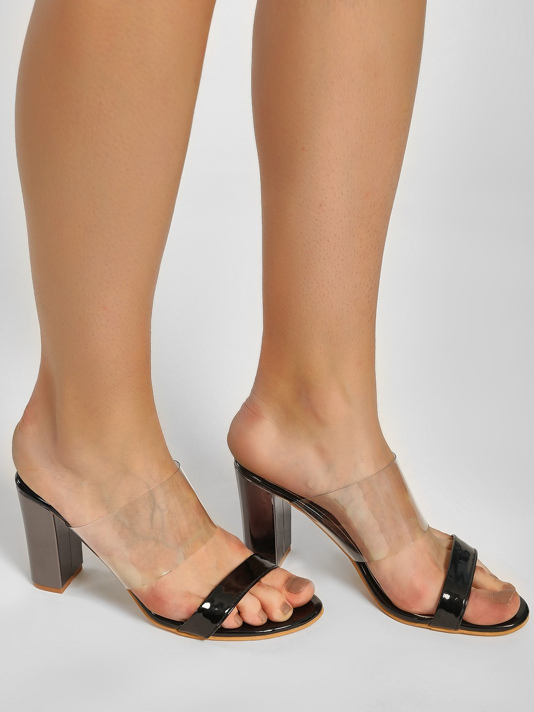 My Foot Couture Black Transparent Strap Block Heeled Sandals 1