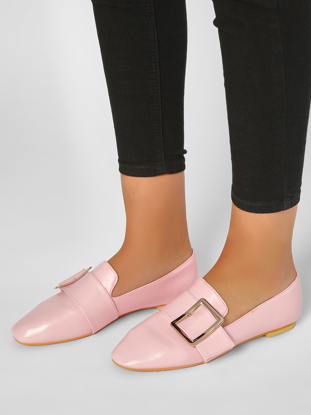 My Foot Couture Pink Buckle Detail Loafer Shoes 1