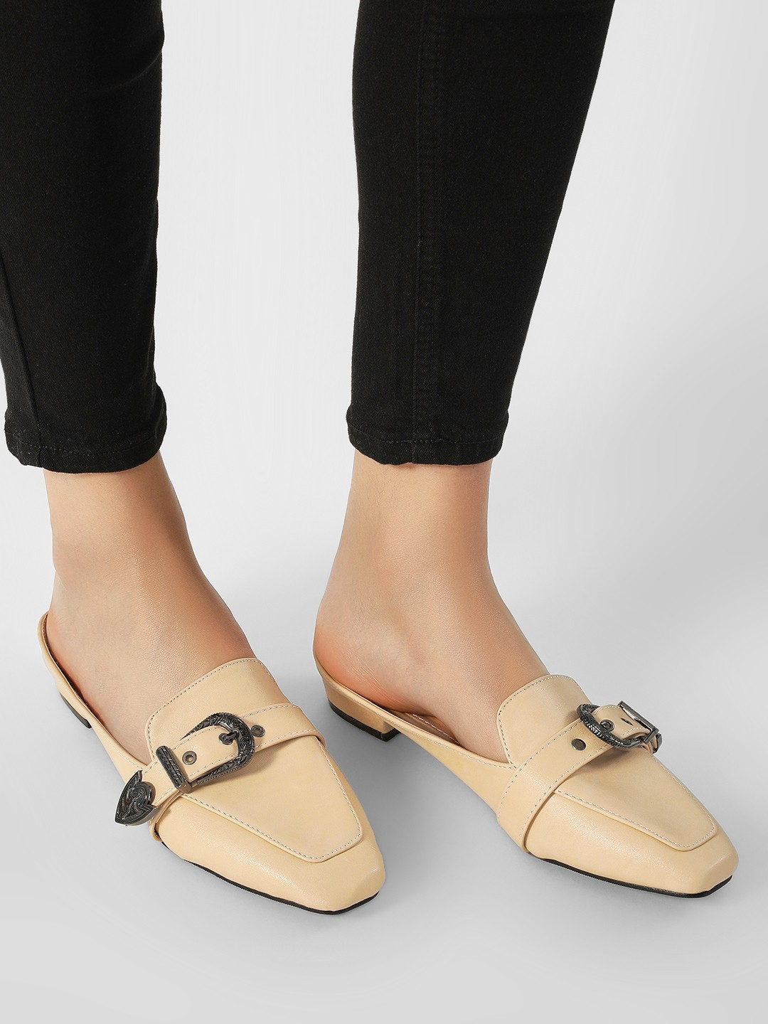 My Foot Couture Beige Buckle Detail Loafer Mule 1