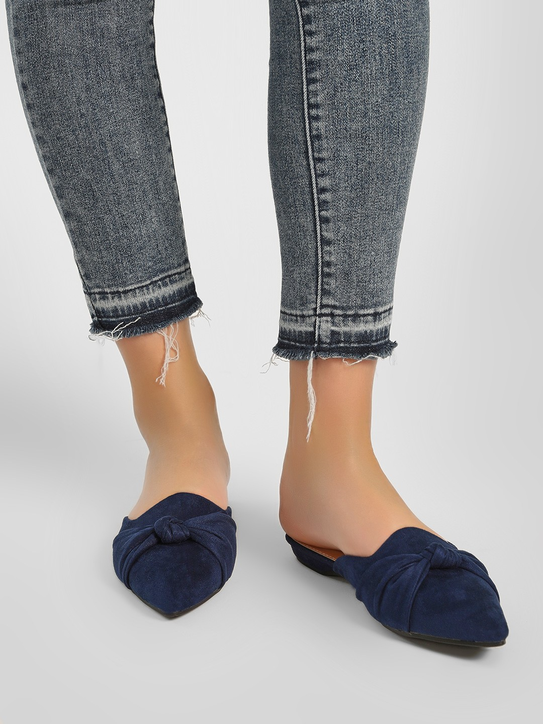 My Foot Couture Blue Front Bow Detail Slides 1