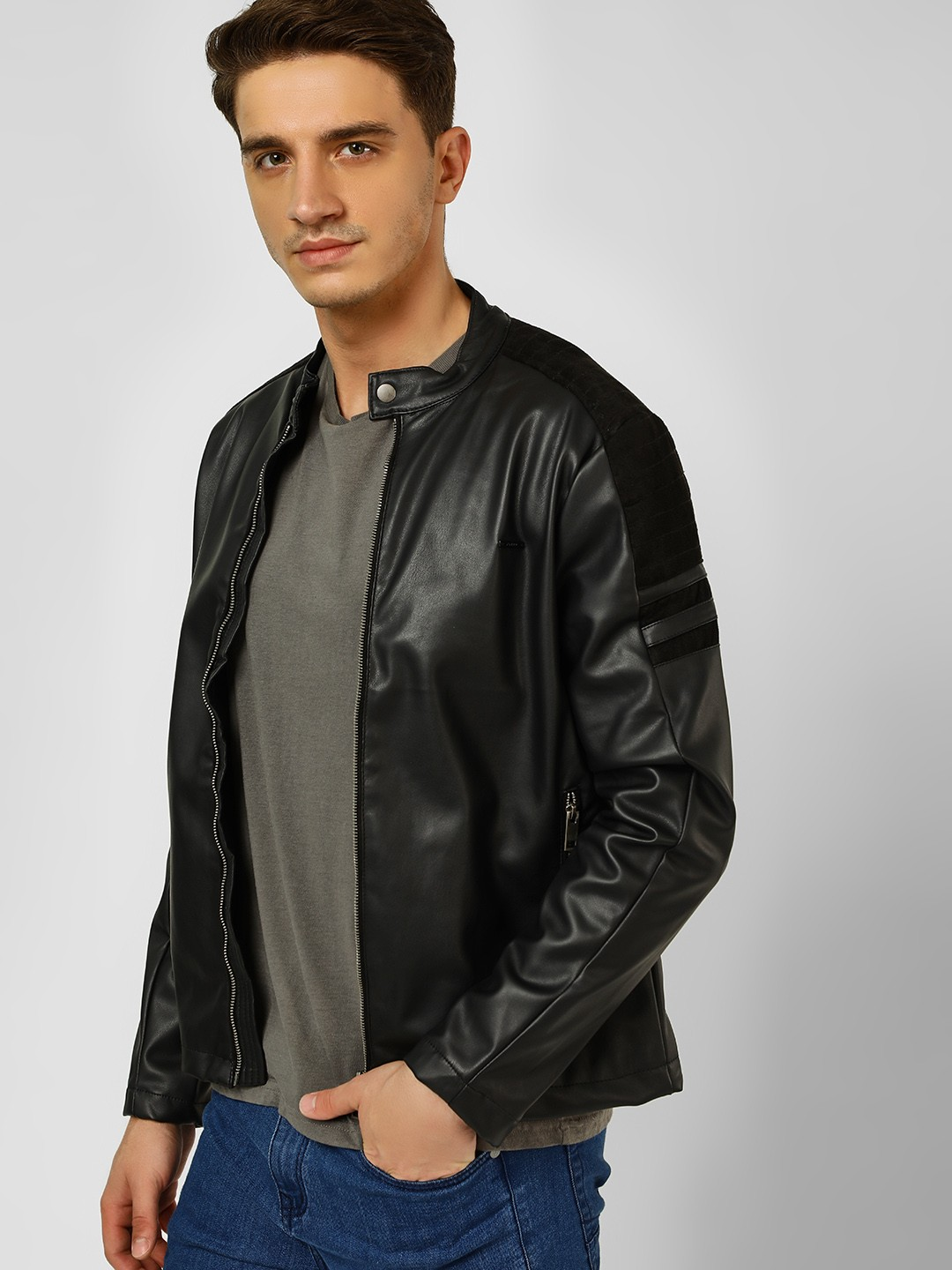 Flying Machine Black Quilted Suede Panel Biker Jacket 1
