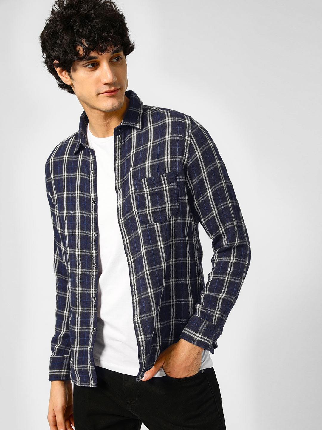 Flying Machine Blue Reversible Woven Check Shirt 1