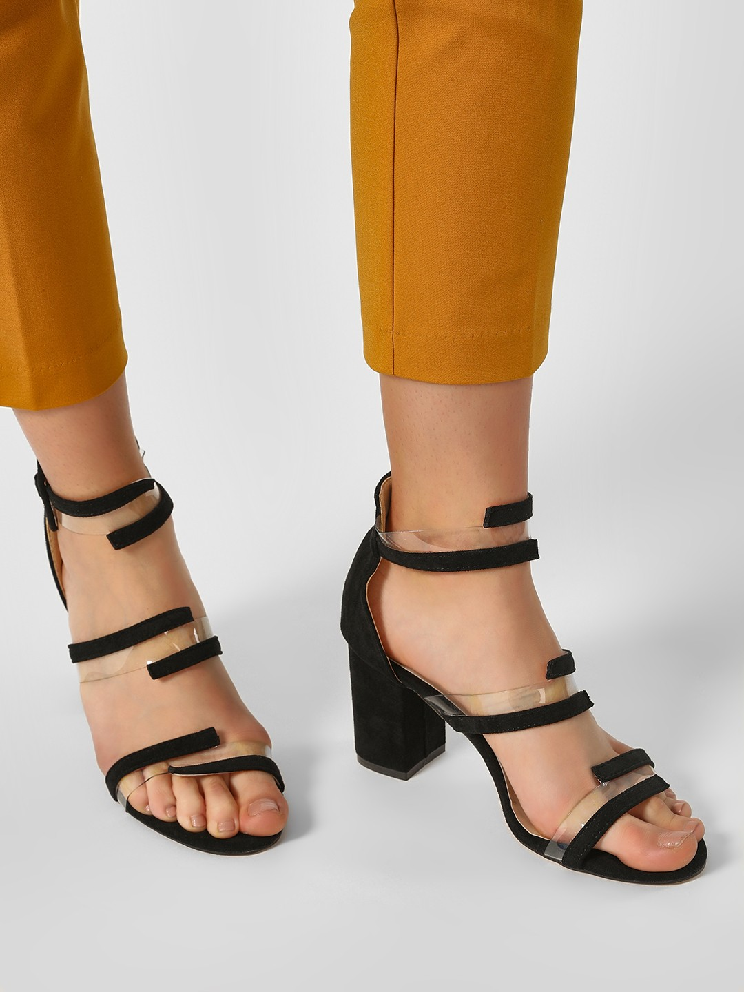 My Foot Couture Black Transparent Strap Suede Heeled Sandals 1