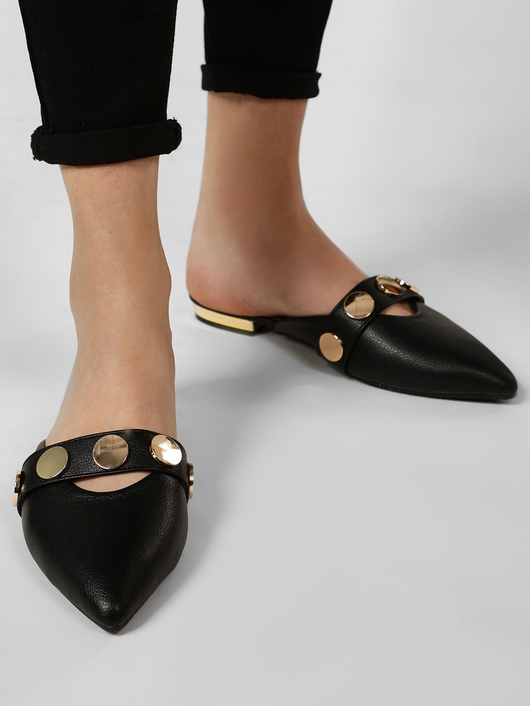 My Foot Couture Black Coin Studded Pointed Mules 1