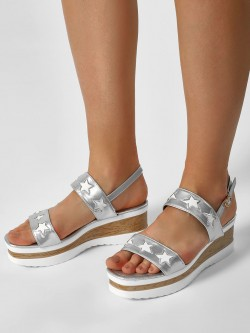 My Foot Couture Star Motif Glossy Wedge Sandals