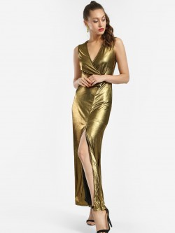 KOOVS Metallic Ruched Belt Maxi Dress